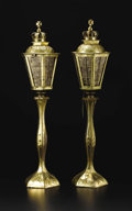 Decorative Arts, Continental:Lamps & Lighting, A Pair of Brass Lamps. Unknown maker, Continental. Twentiethcentury. Brass, mica. Unmarked. 30 inches high. The baluste...(Total: 2 )
