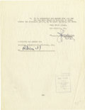 Movie/TV Memorabilia:Autographs and Signed Items, David Selznick Signed Contract. This two-page document, datedFebruary 11, 1936, bears the signature of one of Hollywood's a...