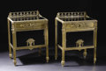 Furniture: French, A Pair of Bronze and Glass Louis XVI Style Bedside Stands. Unknownmaker, French. Early Twentieth Century. Bronze, glass. ... (Total:2 )