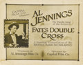 """Movie Posters:Western, Fate's Double Cross (Capital Film Co., 1920s). Title Lobby Card(11"""" X 14""""). In the early days of Hollywood, cowboys-turned-..."""