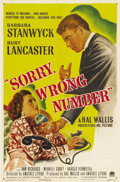 """Movie Posters:Film Noir, Sorry, Wrong Number (Paramount, 1948). One Sheet (27"""" X 41""""). AgnesMoorehead originated the role of shut-in rich girl Leona..."""