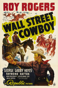 "Wall Street Cowboy (Republic, 1939). One Sheet (27"" X 41""). When a rare metal is found on Roy Rogers' ranch, b..."