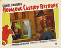 """Movie Posters:Western, Hopalong Cassidy Returns (Paramount, 1936). Lobby Card (11"""" X 14""""). Morris Ankrum peers out of a window looking for Hopalong..."""