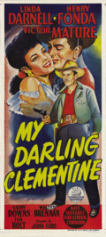 """Movie Posters:Western, My Darling Clementine (20th Century Fox, 1946). Australian Daybill (13"""" X 30""""). John Ford's version of the shoot-out at the ..."""