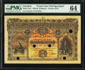 World Currency, Zanzibar Zanzibar Government 20 Rupees 1.1.1908 Pick 4cts1 Color Trial Specimen PMG Choice Uncirculated 64.. ...