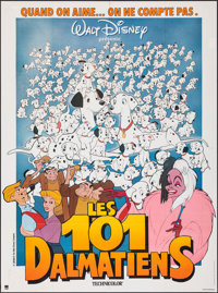 "101 Dalmatians (Walt Disney Productions, R-1980s). Folded, Very Fine. French Grande (46"" X 61.5""). Animation..."