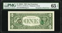 Third Printing on Back Error Fr. 1915-L $1 1988A Federal Reserve Note. PMG Gem Uncirculated 65 EPQ