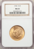 Indian Eagles: , 1926 $10 MS65 NGC. Pop (597/50), CDN Collector Price ($3020.00), CCDN Price ($2300.00), Trends ($2750.00), CAC (36/6)