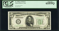 Fr. 1960-E $5 1934D Federal Reserve Note. PCGS Gem New 65PPQ