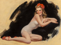 Zoe Mozert (American, 1907-1993) Reclining Pin-Up Pastel on board 19 x 27 inches (48.3 x 68.6 cm)