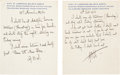 "Autographs:Authors, George Bernard Shaw Three Autograph Notes Signed ""..."