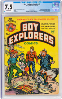 Boy Explorers Comics #1 (Harvey, 1946) CGC VF- 7.5 Off-white pages