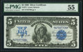 Large Size:Silver Certificates, Fr. 271 $5 1899 Silver Certificate PMG About Uncirculated 55.. ...