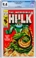 Silver Age (1956-1969):Superhero, The Incredible Hulk #113 (Marvel, 1969) CGC NM 9.4 Off-white to white pages....