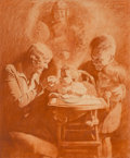 Works on Paper, M. Leone Bracker (American, 1885-1937). His First Great Adventure, Cream of Wheat advertisement, 1929. Conte crayon on b...