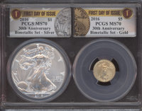 2016 $1 Silver Eagle, 30th Anniversary, First Day of Issue, MS70 PCGS. This let also includes a: 2016 $5 Tenth-Ounce Go...