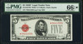 Fr. 1531* $5 1928F Wide I Legal Tender Note. PMG Gem Uncirculated 66 EPQ★
