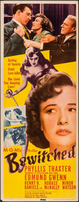 """Bewitched (MGM, 1945). Folded, Fine/Very Fine. Insert (14"""" X 36""""). Film Noir"""