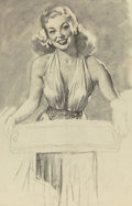 Works on Paper, Gil Elvgren (American, 1914-1980). Beautiful Young Lady serving a tray of refreshments, circa 1946. Charcoal on tracing ...