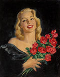Paintings, Howard Connolly (American, 20th Century). Girl with Roses. Oil on canvasboard. 25-1/2 x 20 inches (64.8 x 50.8 cm). Sign...