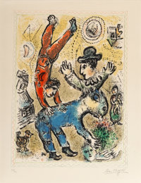 Marc Chagall (1887-1985) The Red Acrobat, 1974 Lithograph in colors on Arches paper 27 x 20-3/8 i