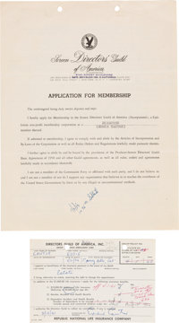 Eddie Cantor Signed Application for Directors' Guild And Life Insurance Card (1953)