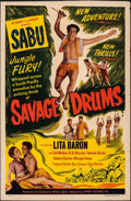"Movie Posters:Adventure, Savage Drums (Lippert, 1951). Folded, Fine+. One Sheet (27"" X 41""). Adventure.. ..."
