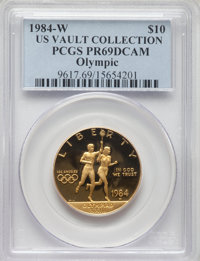 1984-W $10 Olympic Torch Runner Gold Ten Dollar PR69 Deep Cameo PCGS. Ex: U.S. Vault Collection. PCGS Population: (8052/...