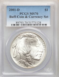 2001-D $1 Buffalo Silver Dollar, Coin and Currency Set, MS70 PCGS. PCGS Population: (98). NGC Census: (0)....(PCGS# 8979...