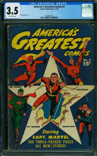 America's Greatest Comics #2 (Fawcett Publications, 1942) CGC VG- 3.5 Off-white pages