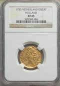 Netherlands:Holland, Netherlands: Holland. Provincial gold Ducat 1753 XF45 NGC,...