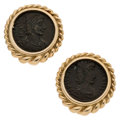 Estate Jewelry:Earrings, Ancient Coin, Gold Earrings. ...