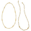 Estate Jewelry:Necklaces, Diamond, Cultured Pearl, Gold Necklaces, Judith Ripka . ... (Total: 2 Items)