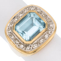 Topaz, Diamond, Gold Ring