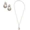 Estate Jewelry:Suites, South Sea Cultured Pearl, Diamond, White Gold Jewelry Suite . ... (Total: 2 Items)