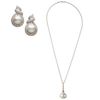South Sea Cultured Pearl, Diamond, White Gold Jewelry Suite ... (Total: 2)
