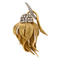 Estate Jewelry:Brooches - Pins, Diamond, Gold Brooch The flower brooch feature...