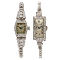 Lady's Diamond, Platinum, White Gold Watches ... (Total: 2 Items)