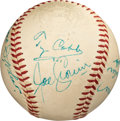 Baseball Collectibles:Balls, 1955-59 Hall of Fame Greats Multi-Signed Baseball with Cobb, Hornsby & Foxx. ...