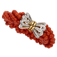 Coral, Diamond, Gold Bracelet