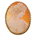 Estate Jewelry:Brooches - Pins, Shell, Gold Brooch . ...