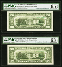Third Printing on Back Error Fr. 2075-L $20 1985 Federal Reserve Notes. Two Examples. PMG Graded Gem Uncirculated 65 EPQ...
