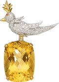 Estate Jewelry:Brooches - Pins, Citrine, Diamond, Platinum, Gold Brooch, Schlumberger for Tiffany & Co.. ...