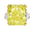 Estate Jewelry:Rings, Fancy Vivid Yellow Diamond, Diamond, Platinum, Gold Ring. ...