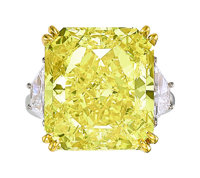 Fancy Vivid Yellow Diamond, Diamond, Platinum, Gold Ring
