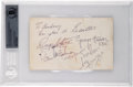 Music Memorabilia:Autographs and Signed Items, The Beatles Signed and Inscribed Parlophone Records Promo Card (1963)....