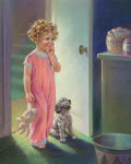 Works on Paper, Mabel Rollins Harris (American, 20th Century). Contemplating the Cookie Jar. Pastel on board. 27-1/2 x 21-1/2 inches (69...