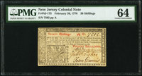 New Jersey February 20, 1776 30s PMG Choice Uncirculated 64