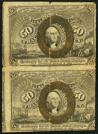 Fr. 1317 50¢ Second Issue Uncut Vertical Pair Fine