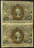 Fractional Currency:Second Issue, Fr. 1284 25¢ Second Issue Uncut Vertical Pair Very Fine.. ...
